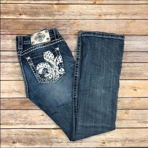 Miss Me fleur de lis pocket boot cut jean size 27